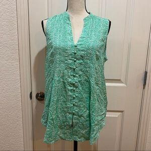 Anthropologie Petunia Pintucked Tank Top NWT Md